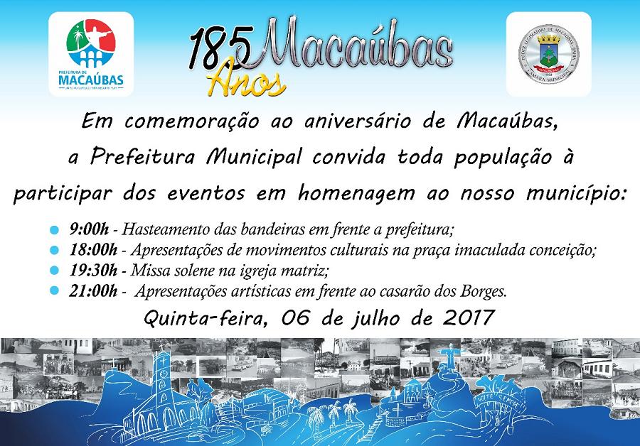 PARTICIPE: HOMENAGEM AOS 185 ANOS DE MACAÚBAS